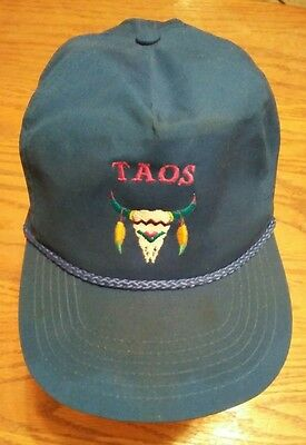Blue Taos Hat Cap with Embroidered Bull Skull New Mexico Cotton Snapback