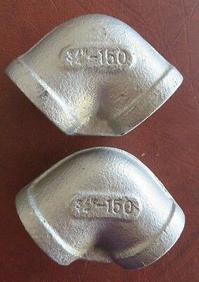 """3/4"""" 304 SS 90 Degree Elbow Pipe Fitting, Threaded, Class 150, Lot of 2 USED"""