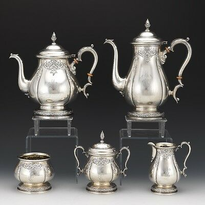 International Sterling Hand Chased Five-Piece Tea Coffee Service Prelude Pattern