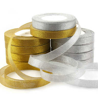 25Yards 10/15/25mm Glitter Satin Ribbons Bling Bows Crafts Wedding Bow Decor