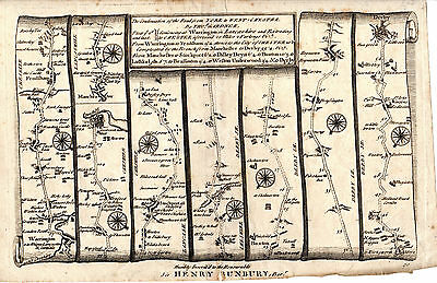 Nearly 300 Years Old - Thomas Gardner Strip Map - Warrington,  Chester And Derby