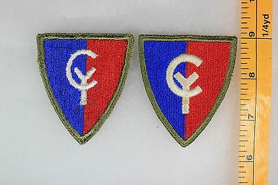 US WW2 Army Cut Edge Snowy 38th Infantry Division Green Back! 2 Patch Lot OA146