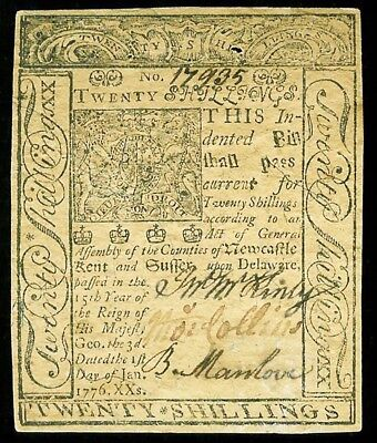 January 1, 1776 Delaware 20 Shillings Colonial Currency Note -De 80