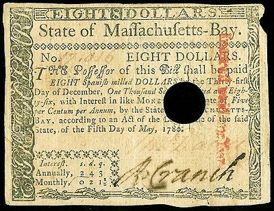 May 5, 1780 Massachusetts $8 Colonial Currency Cancelled Note -Ma 284