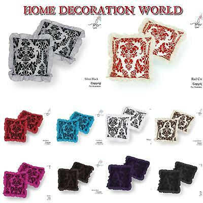 """Luxury English Damask Flock Cushion Covers With Frill 18""""X18"""""""