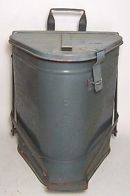 Vintage Eagle Triangle Metal Oil Rags Waste Trash Can -Foot Operated