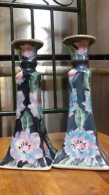 "ANTIQUE Vintage CHINESE FAMILLE Porcelain 9"" CANDLE HOLDERS - Candlestick holder"