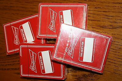 Four Sealed Decks Of Budweiser Beer Playing Cards