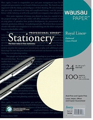 Royal Linen Ivory Stationery Resume Paper 8.5 x 11-24# 100 Sheet Package Wausau