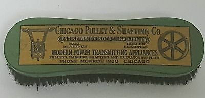 Vintage Chicago Pulley & Shafting Co Advertising Wood Coat Clothing Brush