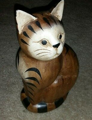 """Sitting Cat Hand Carved Sculpture Cat Statue Figurine Crafted Wood 10""""  cb22"""