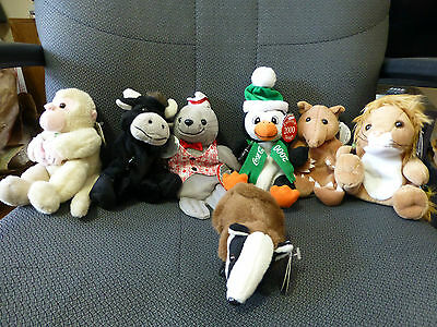 Lot of 5 Vintage Collectible International Coca-Cola Plush bean Bag Plus 2 other