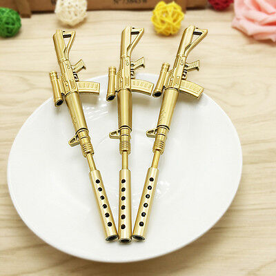 Gold Rifle Shape Black Ink Ballpoint Pen Stationery Office Ball Point Novelty 1X