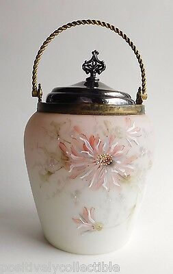 Antique C1900's Monroe Wave Crest Pink Floral Enamel Art Glass Biscuit Jar 9""