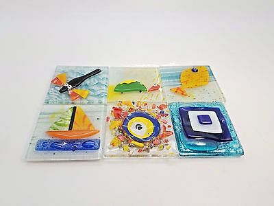 Six (6) Square Glass Refrigerator Magnets Evil Eye Dragon Fly Fish Turtle Boat