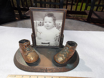 Vintage 1920's -30's bronze craft baby shoes bronze plated picture frame 8 X 5
