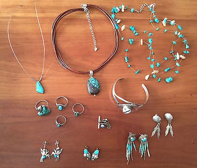 LOT of Vintage Sterling Silver & Turquoise Western & Native American Jewelry