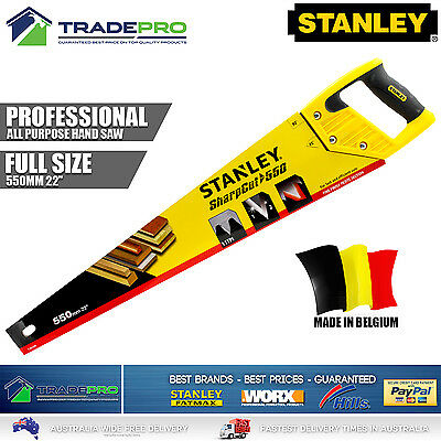 """Stanley Hand Saw PRO 550mm 22"""" Handsaw 11TPI Wood Timber SuperCut Made Belgium"""