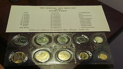 1973 SOVIET UNION RUSSIAN MINT COIN SET....NICE SET....w/paperwork and envelope