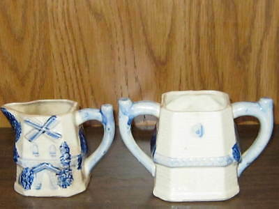Vintage Square Blue Glazed Cream & Sugar Bowl - Made in Japan