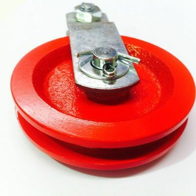 """HEAVY DUTY RED CAST IRON 90mm (3 1/2"""") CABLE SUSPENSION PULLEY (w/FREE POSTAGE)"""
