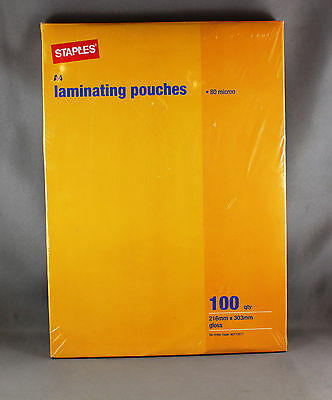 STAPLES A4 LAMINATING POUCHES 80 MICRON - QTY 100 GLOSS POUCHES 216mm x 303mm