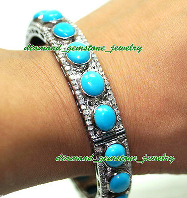 42.65cts-ROSE-CUT-DIAMOND-TURQUOISE-VICTORIAN-LOOK-WEDDING-SILVER-BRACELET-x-1Ps