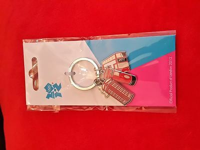 Olympics London 2012 - Keyring with London Bus, Telephone Box & Postbox Charms