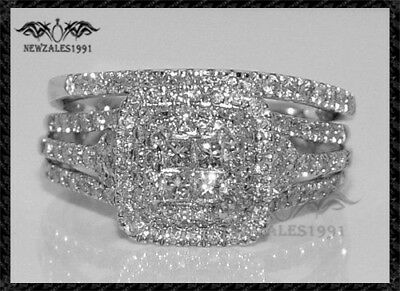 2.00 Cushion Cut Diamond Halo Bridal Set Engagement Ring 14k White Gold