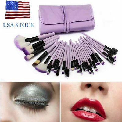 Purple 32pc Professional Soft Cosmetic Eyebrow Shadow Makeup Brush Set+Pouch Bag