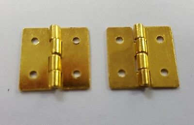 """Electro Brass Butt Hinge 1/2"""" x 1/2"""" 12mm x 12mm One Pair JEWELLERY BOX HINGES"""
