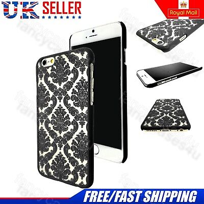 Rubberized Damask Vintage Hard Back Case With Tempered Glass For iPhone Models