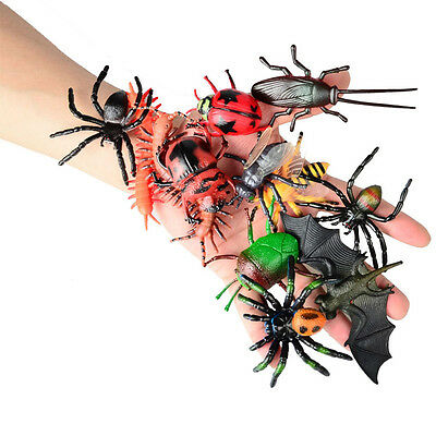 12 pcs Realistic Insect Bug Animal Figures Toy Spider Beetle Bee Centipede Bat