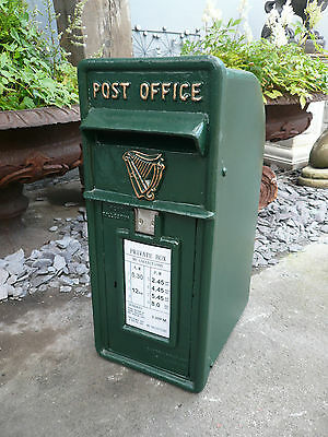 Irish Box Letter Lock Office Harp An Post Vintage Antique Cast Ireland Garden