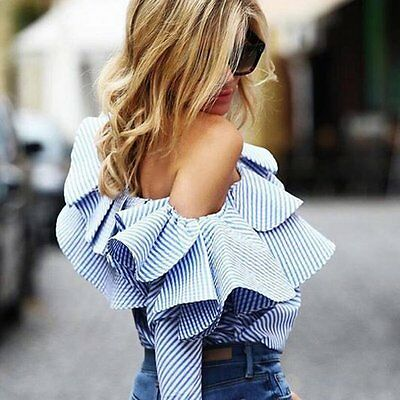 Fashion Womens Off Shoulder Long Sleeve Casual Loose Blouse Cotton Tops T-Shirt