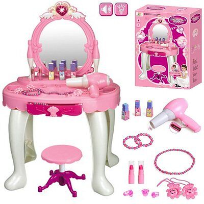 Kids Girl Glamour Mirror Dressing Table Play Set Light & Sounds Toy Game Gift
