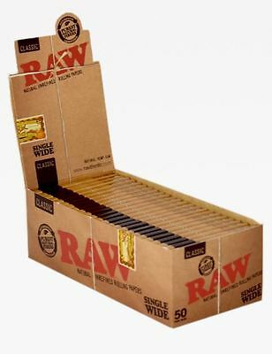 Raw Single Wide Rolling Papers Natural Unrefined 50 Pack (Full Box)