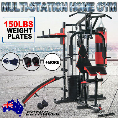Multi Home Gym Station Exercise Bench Press Boxing Punching Equipment Dumbbells