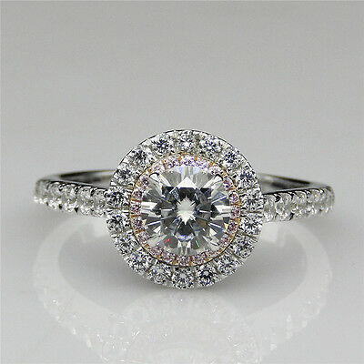 Double Halo 1ct Moissanite 10K White Gold Pave Set Pink Accents Engagement Ring