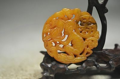 Perfect Chinese old jade hand carved monkey & Peach-Shaped Mantou pendant cd13