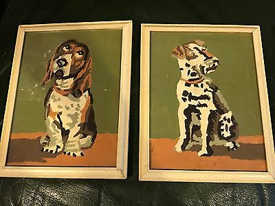 Vintage Oil Painting On Board Pair Miniature Dog Picture Study School Amateur