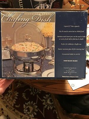 Stainless Steel 4QT Chafing Dish With Lid EUC