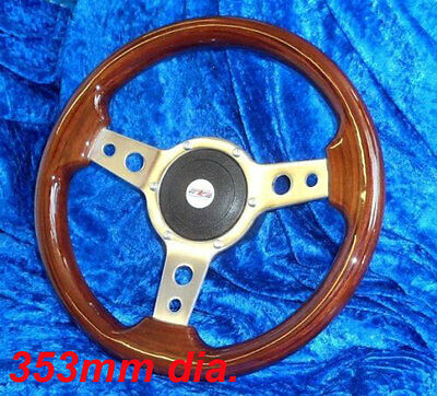 WOODRIM STEERING WHEEL BY MOUNTNEY 353mm WITH BOSS KIT TRIUMPH HERALD & SPITFIRE