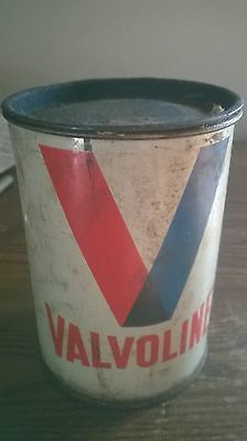 Vintage Valvoline One Pound Grease Can with Resealable Lid