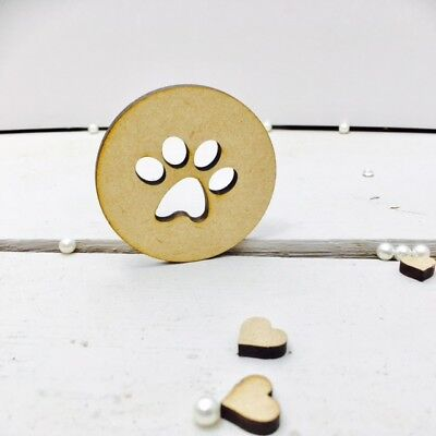 10 X PAW PRINT TAGS - dog cat pet - 6cms Wooden MDF Blank Craft Tags