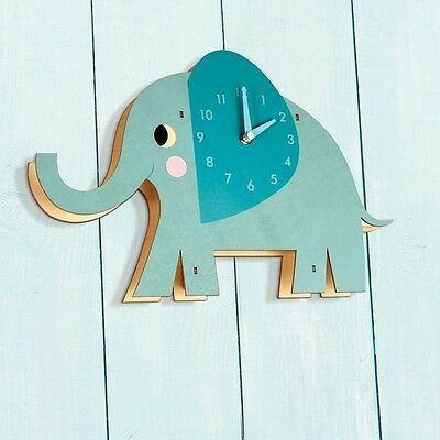 Elvis The Elephant WOODEN WALL CLOCK Kids Children Nursery