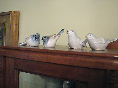 2 Pair Porcelain Bird Figurines, Pastel Gray Blue and Tan, unmarked
