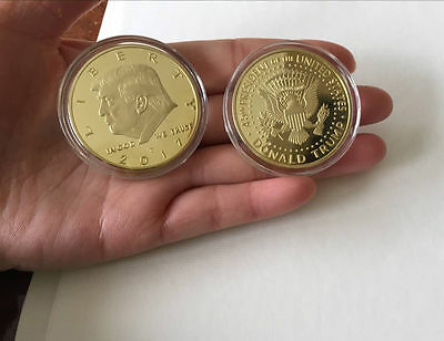 2017 New US DONALD TRUMP Inauguration Gold Plated coin President
