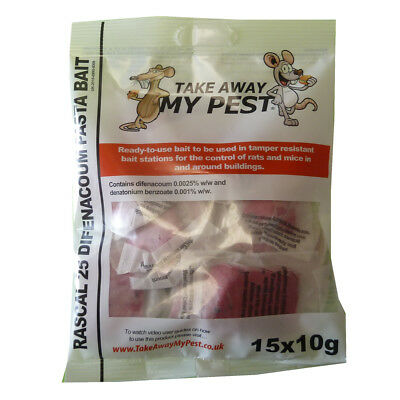15 x PASTA Poison Bait Blocks Rodent Killer for Mice Mouse OR Rat (1 Packet)