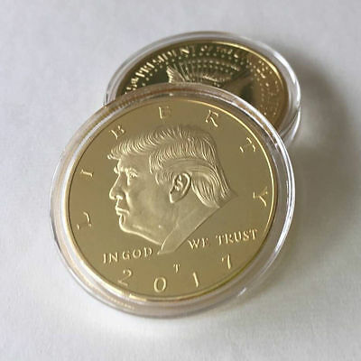 2017 New US DONALD TRUMP Inauguration Gold Plated coin President F05